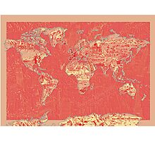 World Map landmarks 9 Photographic Print