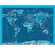 World Map landmarks 10 Photographic Print