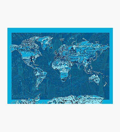 World Map landmarks 10 Photographic Print