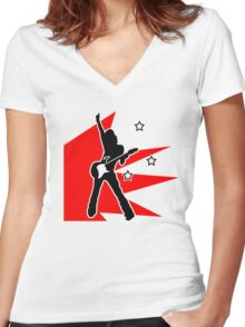 rock chick Women's Fitted V-Neck T-Shirt