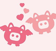 Flying Pigs in Love by XOOXOO