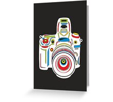 Rainbow Camera Black Background Greeting Card