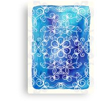 White Floral Painted Pattern on Blue Watercolor Canvas Print