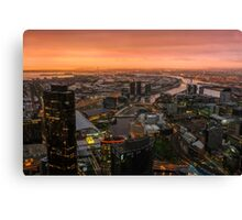 Moody Sunset Over Melbourne Canvas Print