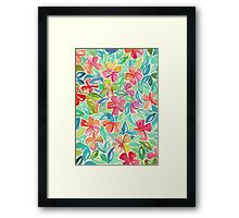 Tropical Floral Watercolor Painting Framed Print