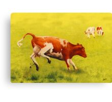 happy dancing cow Canvas Print