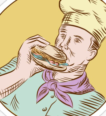 Chef Cook Eating Burger Etching Sticker