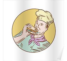 Chef Cook Eating Burger Etching Poster