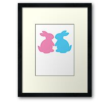 Cute little LOVE bunnies for Valentines Framed Print