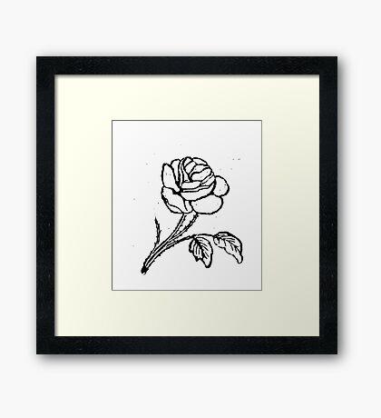 ROSE WOODCUT Framed Print