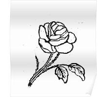 ROSE WOODCUT Poster