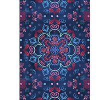 Cherry Red & Navy Blue Watercolor Floral Pattern Photographic Print