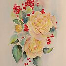 Roses and redcurrants by Beatrice Cloake