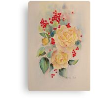 Roses and redcurrants Canvas Print