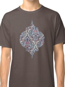 Botanical Moroccan Doodle Pattern in Navy Blue, Red & Grey Classic T-Shirt