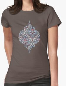 Botanical Moroccan Doodle Pattern in Navy Blue, Red & Grey T-Shirt