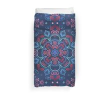 Cherry Red & Navy Blue Watercolor Floral Pattern Duvet Cover