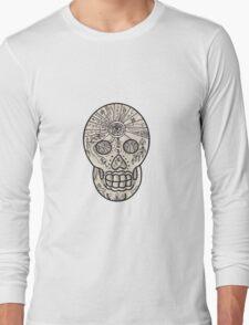 Sugar Skull Tattoo Etching Long Sleeve T-Shirt