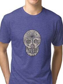 Sugar Skull Tattoo Etching Tri-blend T-Shirt