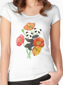 Poppies & Pandas Women's Fitted Scoop T-Shirt