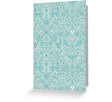 Detailed Floral Pattern in Teal and Cream Greeting Card