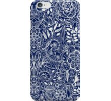 Detailed Floral Pattern in White on Navy iPhone Case/Skin