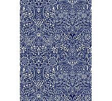 Detailed Floral Pattern in White on Navy Photographic Print