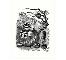 Alice and the Cheshire Cat, or A Very Merry Halloween in Wonderland Art Print