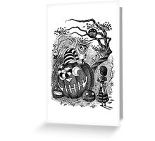 Alice and the Cheshire Cat, or A Very Merry Halloween in Wonderland Greeting Card