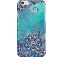 Mermaid's Garden - Navy & Teal Floral on Watercolor iPhone Case/Skin