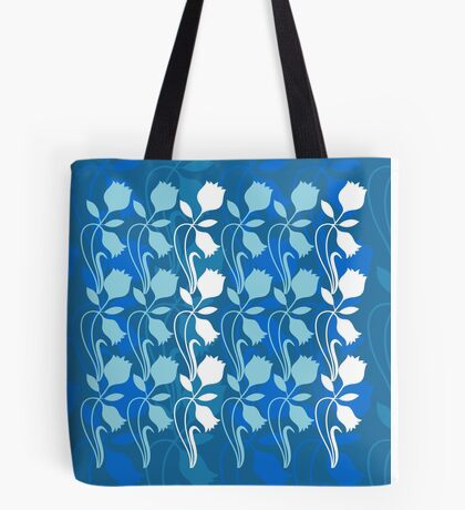 Layered Floral Silhouette Print (4 of 8 please see description) Tote Bag