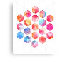 Radiant Hexagons - geometric watercolor painting Canvas Print