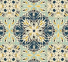 Protea Pattern in Deep Teal, Cream, Sage Green & Yellow Ochre by micklyn