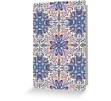 Protea Pattern in Blue, Cream & Coral Greeting Card