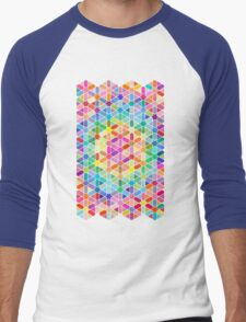 Rainbow Honeycomb with Stars Men's Baseball ¾ T-Shirt