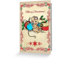 Love, Joy, PIE! Merry Christmas! Cute mouse illustration Greeting Card