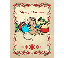 Love, Joy, PIE! Merry Christmas! Cute mouse illustration Photographic Print
