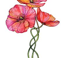 Peach & Pink Poppy Tangle by micklyn