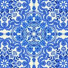 « Cobalt Blue & China White Folk Art Pattern » par micklyn