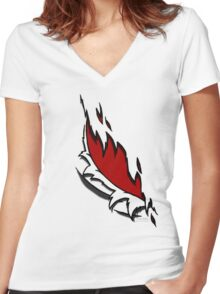 Torn Red Women's Fitted V-Neck T-Shirt