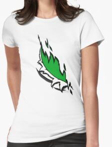 Torn Green Womens Fitted T-Shirt