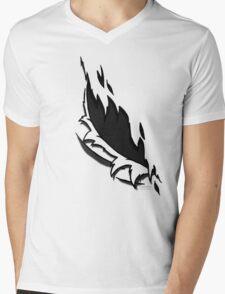 Torn Grey Mens V-Neck T-Shirt