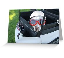 Chihuahua Demonstrates Napping Techniques in Goggles and Helmet Greeting Card