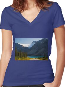Riding the Icefields Parkway Women's Fitted V-Neck T-Shirt