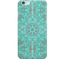Mint Green & Grey Folk Art Pattern iPhone Case/Skin
