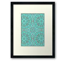 Mint Green & Grey Folk Art Pattern Framed Print