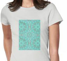 Mint Green & Grey Folk Art Pattern Womens Fitted T-Shirt