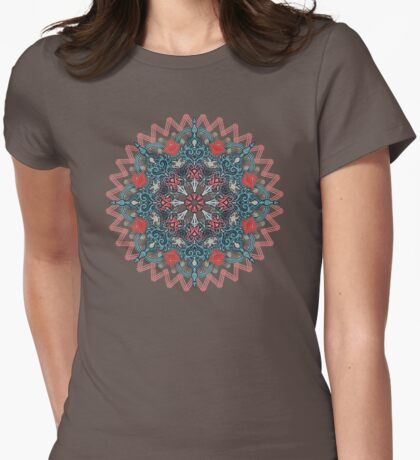 Coral & Teal Tangle Medallion Womens Fitted T-Shirt