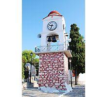 Agios Nikolaos clock tower, Skiathos Photographic Print