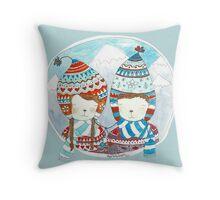Winter hats mint Throw Pillow